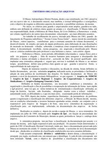 CRITÉRIOS ORGANIZAÇÃO ARQUIVOS O Museu Antropológico ...