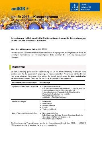 Das ausführliche Kursprogramm als PDF-Datei - uniKIK - Leibniz ...
