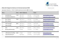 Übersicht Integrierte Seminare im Sommersemester 2013
