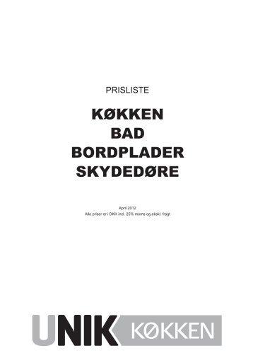 KØKKEN BAD BORDPLADER SKYDEDØRE - Unik Køkken