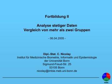Fortbildung II: Analyse stetiger Daten – Vergleich - Universität Bonn