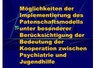 Möglichkeiten der Implementierung des Patenschaftsmodells unter ...