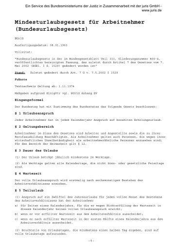 Mindesturlaubsgesetz für Arbeitnehmer (Bundesurlaubsgesetz)