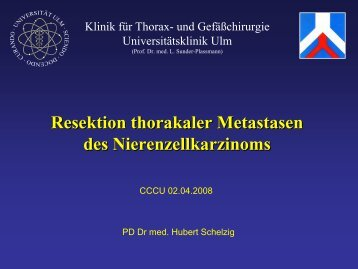 Resektion thorakaler Metastasen des Nierenzellkarzinoms