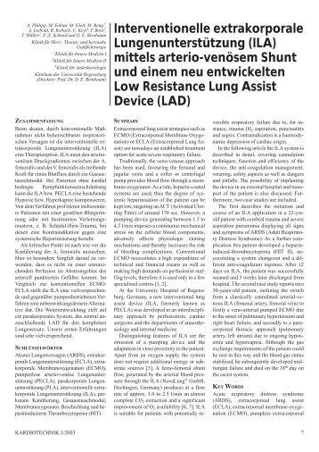 Interventionelle extrakorporale Lungenunterstützung (ILA) mittels ...