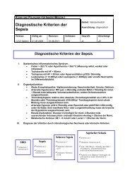 Diagnostische Kriterien der Sepsis - Universitätsklinikum Regensburg