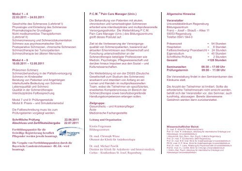 Pain Care Manager Programm - Universitätsklinikum Regensburg