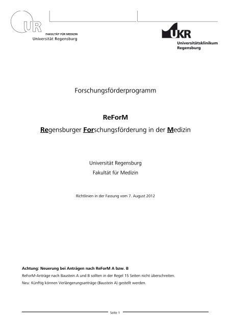 Richtlinien ReForM (PDF) - Universitätsklinikum Regensburg