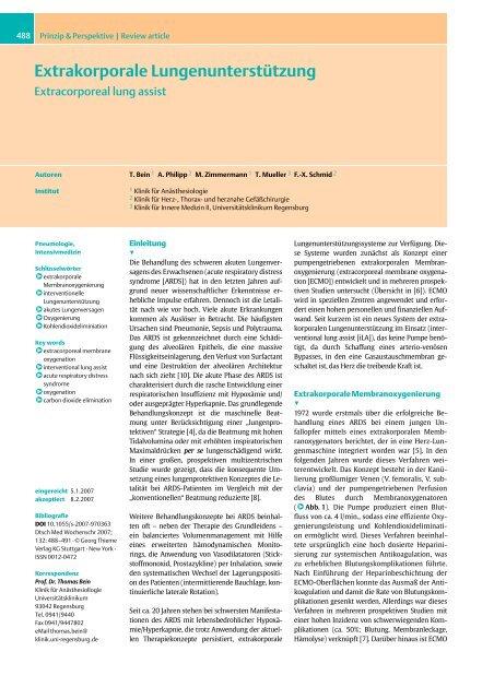 Extrakorporale Lungenunterstützung - Universitätsklinikum ...