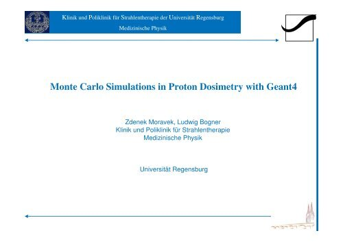 Monte Carlo Simulations in Proton Dosimetry with Geant4