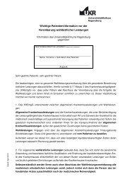 Wichtige Patienteninformation - Universitätsklinikum Regensburg