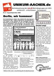 Ausgabe 8v05 - bei der ver.di-Betriebsgruppe am UKA!