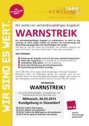WARNSTREIK - bei der ver.di-Betriebsgruppe am UKA!