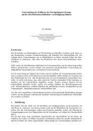 Untersuchung des Einflusses der Formgebungswerkzeuge auf die ...