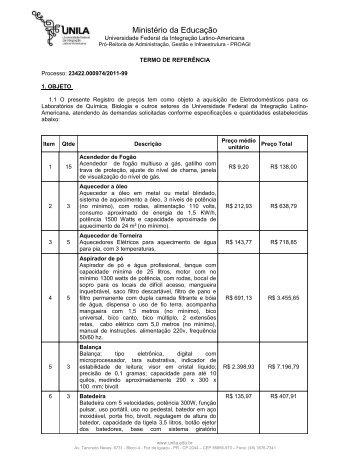 Anexo I - Termo de Referencia - Eletrodomesticos - Unila