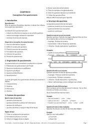 Conception d'un questionnaire - Université de Limoges