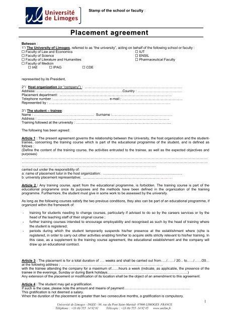 Placement Agreement Universit De Limoges