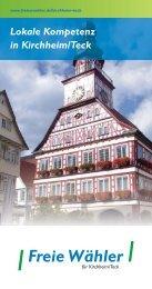 Lokale Kompetenz in Kirchheim/Teck - Freie Wähler in der Region