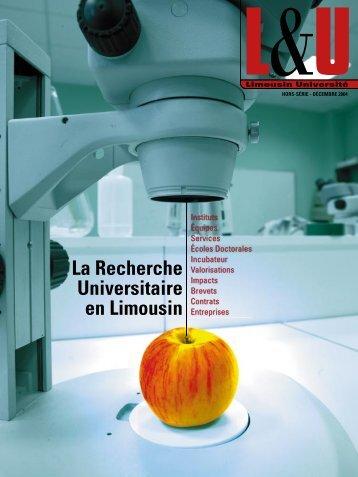 La Recherche Universitaire en Limousin - Université de Limoges