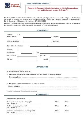 2013 DRAAP avec financement fiche client - Université de Limoges
