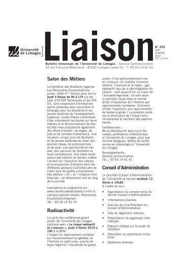Liaison du 1er février 2010 - Université de Limoges