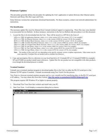 Firmware Updates - Unimark Products