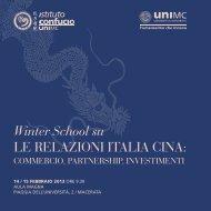 Winter School su LE RELAZIONI ITALIA CINA: - Università degli ...