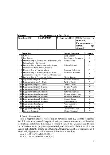 Offerta formativa aa 2013/2014 - Università degli Studi di Macerata