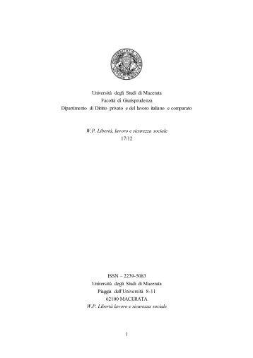 Tutela dei diritti fondamentali e giudice europeo. - Università degli ...