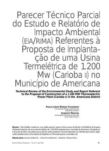 Parecer Técnico Parcial do Estudo e Relatório de Impacto ... - Unimep