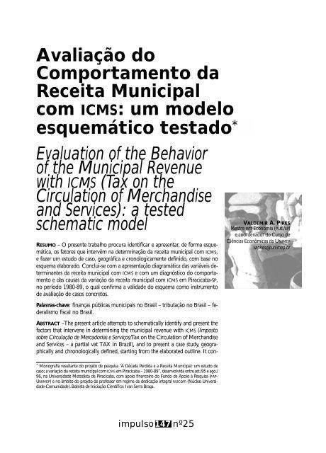 Avaliação do Comportamento da Receita Municipal com ... - Unimep
