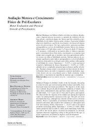 Avaliação Motora e Crescimento Físico de Pré-Escolares - Unimep
