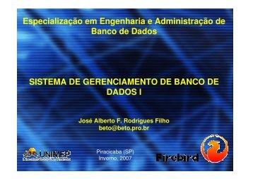 Especialização em Engenharia e Administração de Banco ... - Unimep