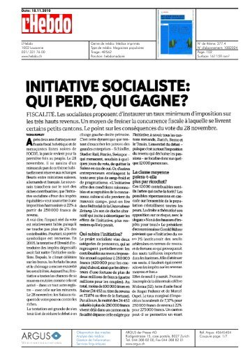 INITIATIVE SOCIALISTE: - Université de Neuchâtel