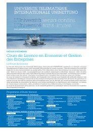 Cours de Licence en Economie et Gestion des Entreprises