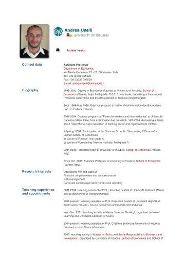 Andrea Uselli - The University of Insubria