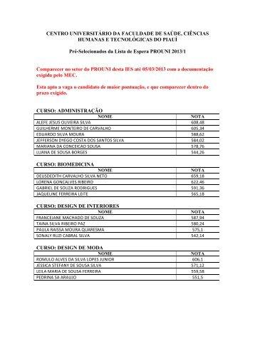 PRÉ-SELECIONADOS DA LISTA DE ESPERA 2013-1 - Novafapi