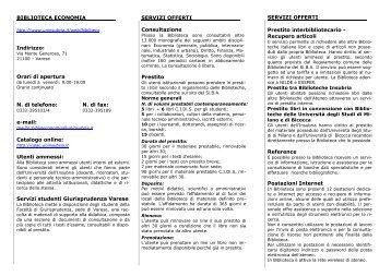 BIBLIOTECA ECONOMIA Indirizzo - Università degli Studi dell'Insubria