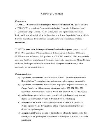 Contrato de Comodato - AIP Cinema