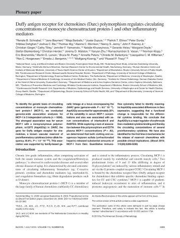 Duffy antigen receptor for chemokines (Darc) - Blood - American ...