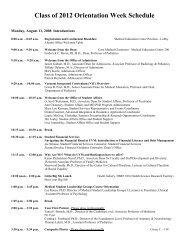 class of 2007 orientation week schedule - College of Medicine