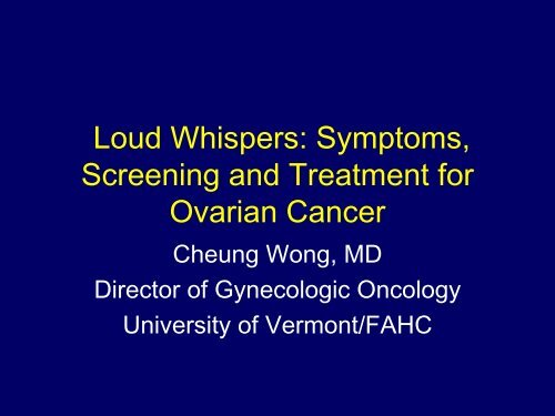 Causes Of Ovarian Cancer Facts And Myths University Of Vermont