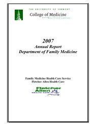 Annual Report Department of Family Medicine - College of Medicine ...