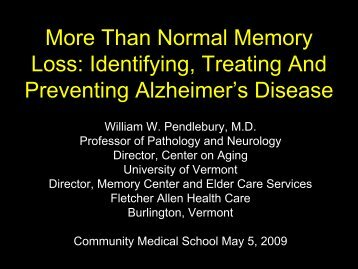 Identifying, Treating And Preventing Alzheimer's Disease