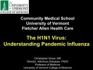 H1N1 - College of Medicine - University of Vermont