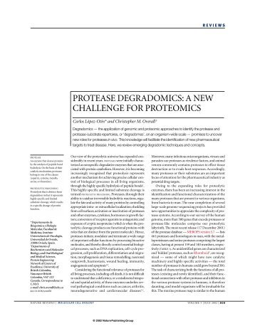 protease degradomics: a new challenge for proteomics