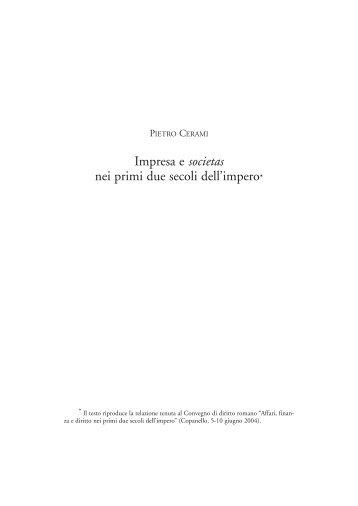 Impresa e societas nei primi due secoli dell'impero* - Università di ...