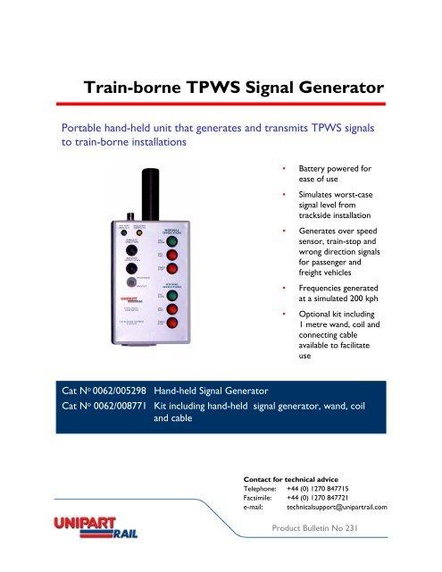 Train-borne TPWS Signal Generator - Unipart Rail