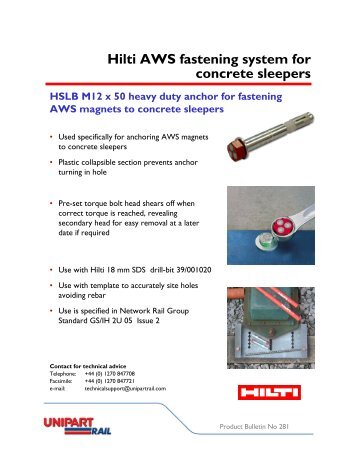 Hilti AWS fastening system for concrete sleepers - Unipart Rail