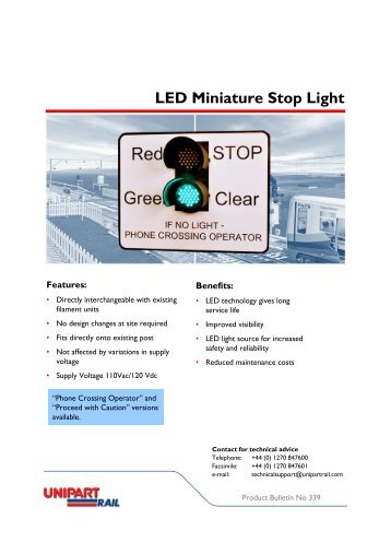 LED Miniature Stop Light - Unipart Rail